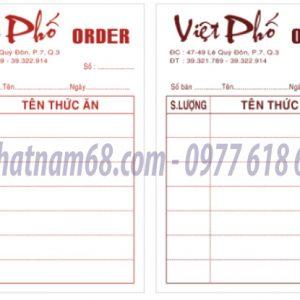 In Phiếu Order Cho Nhà Hàng Việt Phố Giá Cạnh Tranh