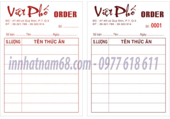 In phiếu order cho nhà hàng Việt Phố
