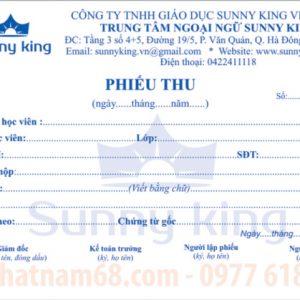 In Phiếu Thu Phiếu Chi Cho Trung Tâm Sunny King Giá Rẻ Chất Lượng.